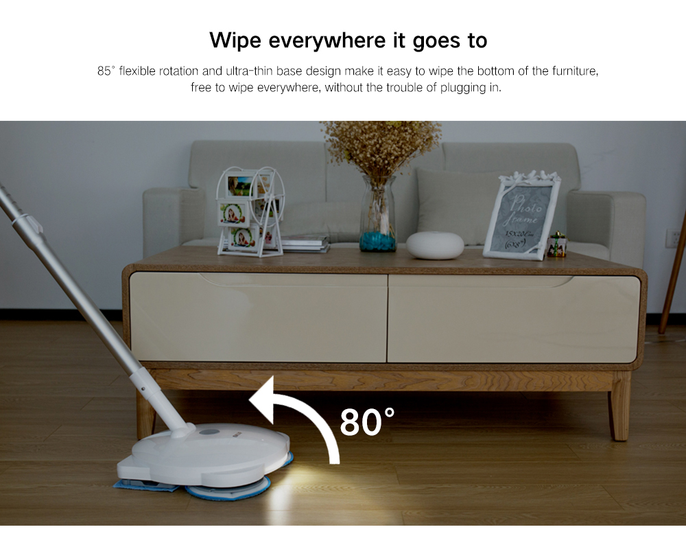 ENLiF Multi-function Dry / Wet / Wax Cordless Handheld Intelligent Electric Mop- White