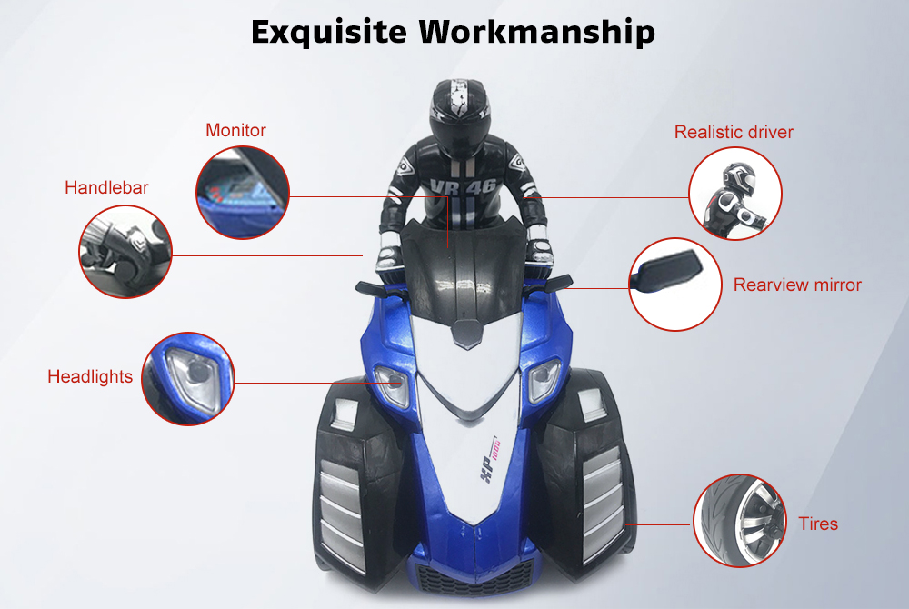 Yuandi YD898 - T54 1/10 Scale RC Motorcycle 27MHz Remote Control Toy Gift