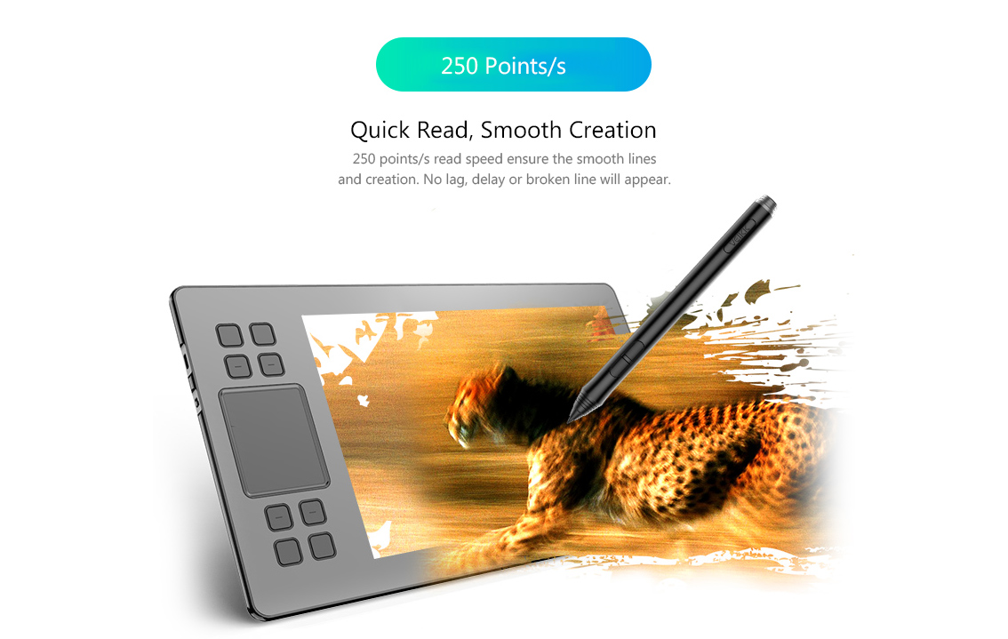 VEIKK A50 Digital Tablet Drawing Panel 0.9cm Ultra-thin 8192 Pressure Sensitivity- Black
