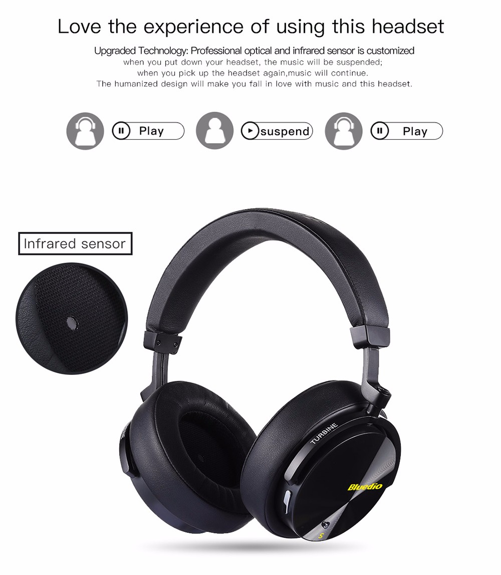 Bluedio T5S Active Noise Cancelling Wireless Bluetooth Headphone Portable Headset with Microphone- Black