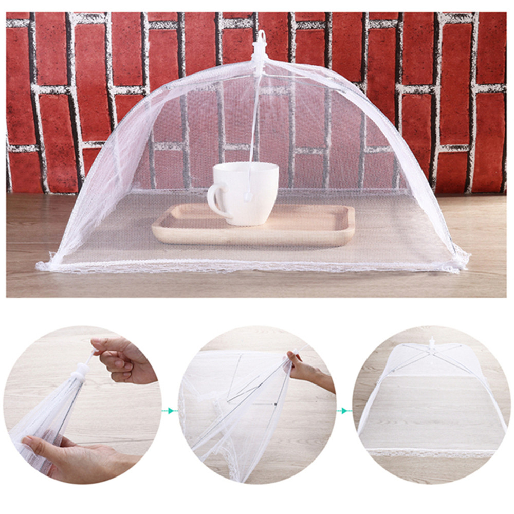 43cm Home Folding Dish Cover Fine Mesh Large Anti Fly Family Food Net Covers- Yellow