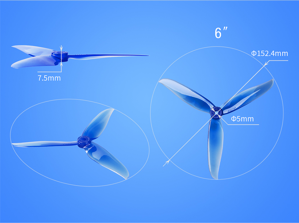Dalprop Cyclone T6040C 6040 3-blade Propeller for RC Drone 2 Pairs