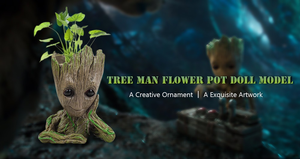Creative Tree Man Flower Pot Doll Model Desk Ornament Gift Toy- Apricot Meditation