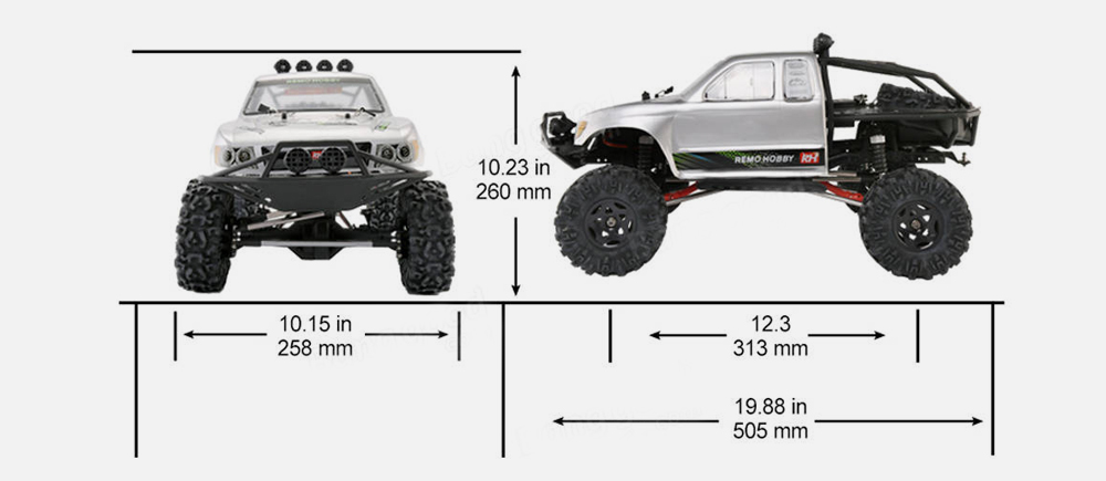 Remo Hobby 1093 - ST 1/10 2.4G 4WD Brushed RC Car Off-road Rock Crawler Truck RTR Toy- Platinum