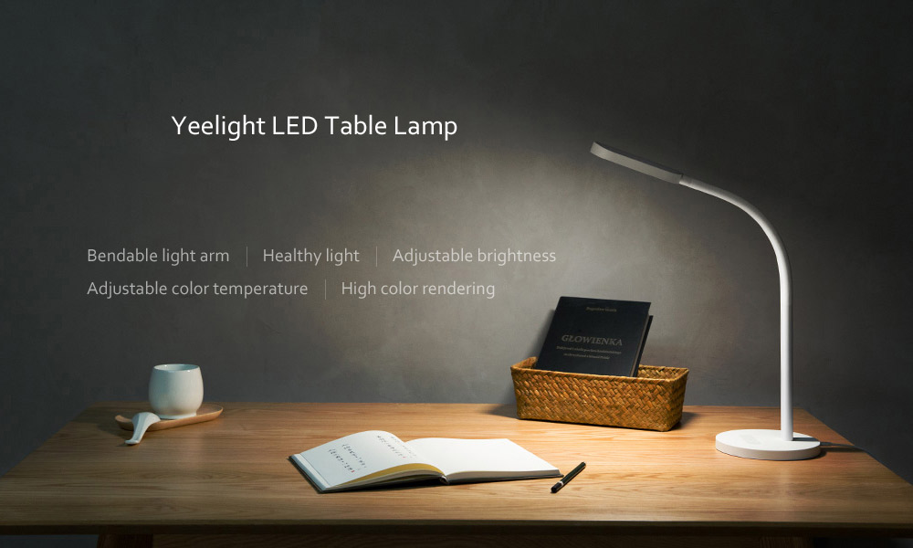 Yeelight YLTD01YL 260lm Brightness and Color Temperature 5-mode Adjustable USB Rechargeable Touch Control LED Table Light- White Rechargeable