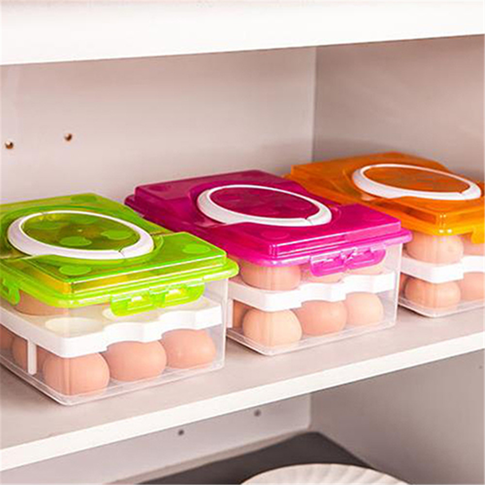 Egg Box Food Container Organizer Convenient Storage- Neon Pink