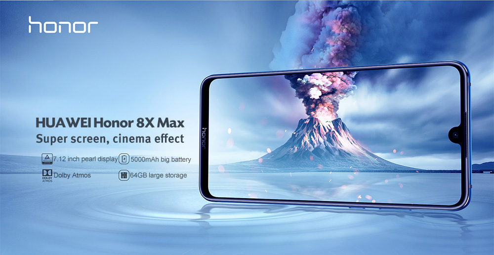 HUAWEI Honor 8X Max 4G Phablet 7.12 inch Android 8.1 Qualcomm Snapdragon 636 Octa Core 2.2GHz 4GB RAM 64GB ROM Fingerprint Sensor 5000mAh Built-in- Black