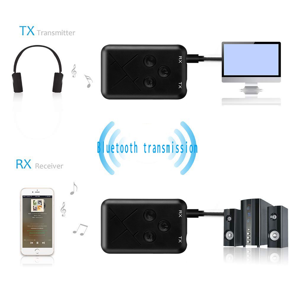 Wireless Bluetooth Transmitter Receiver Two in One- Black