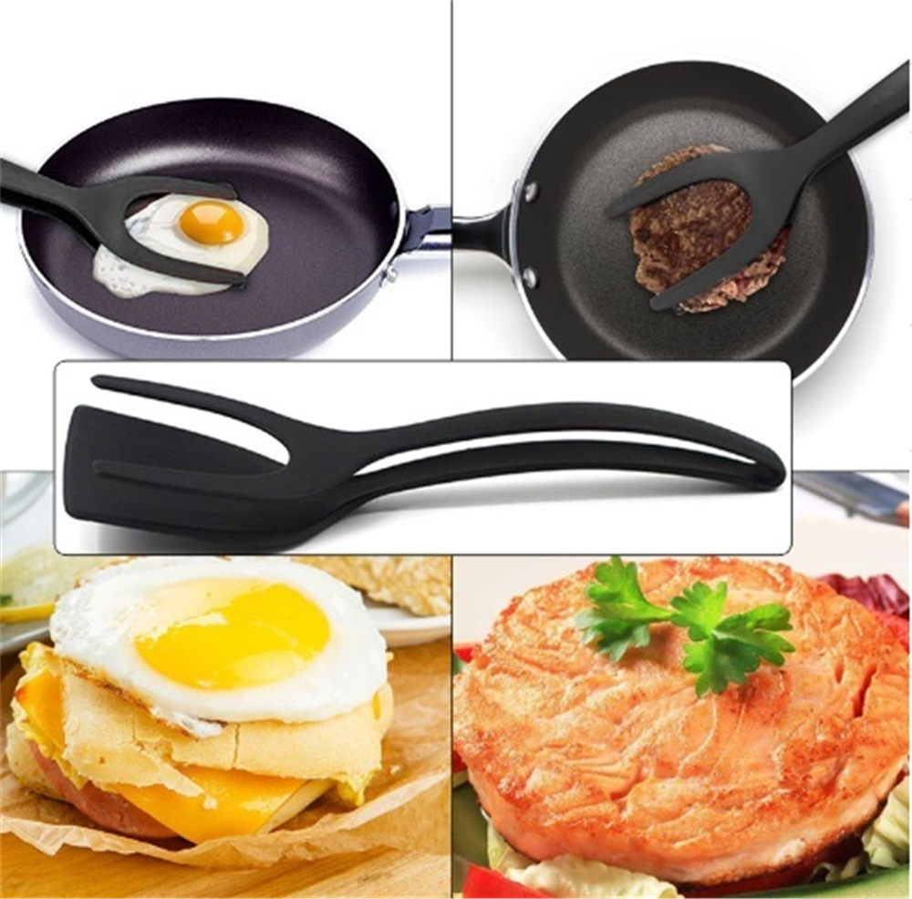 2 In 1 Tongs Grip And Flip Spatula Perfect Omelet Egg Pancake Tool- Black