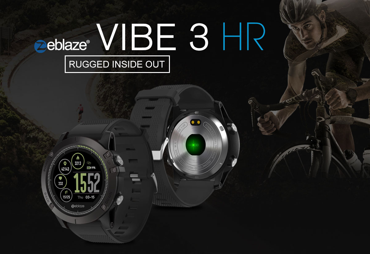 Zeblaze VIBE 3 HR 1.22 inch Sports Smart Watch Bluetooth 4.0 IP67 Waterproof Call / Message Reminder Heart Rate Monitor Blood Pressure Functions- Black
