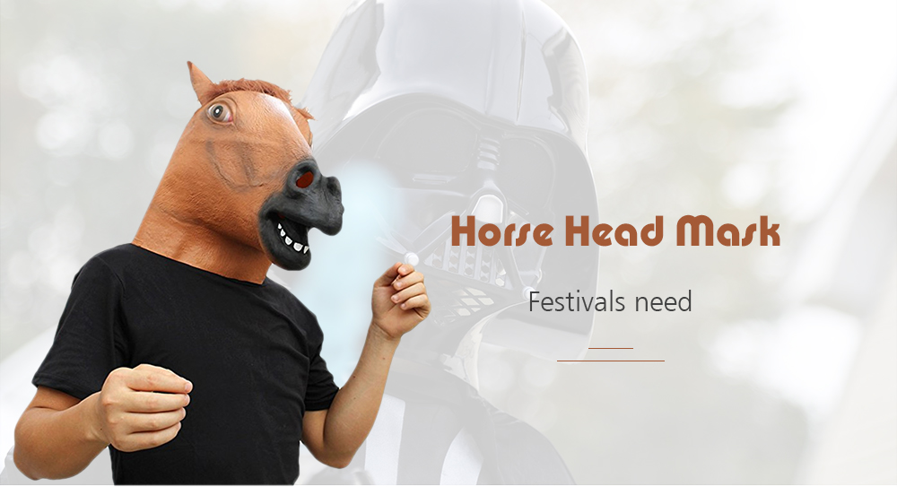Horse Head Mask Halloween Animal Costume Theater Prop Adult Party Supplies- Light Brown