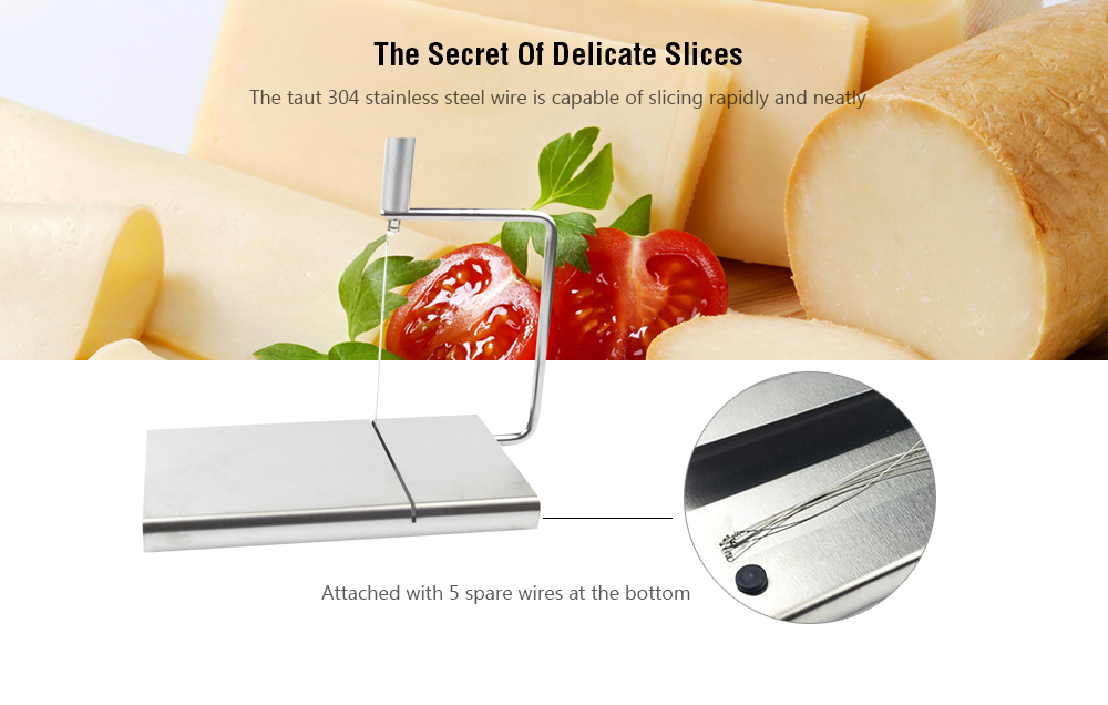 Stainless Steel Multifunction Cheese Slicer with 5 Spare Wires - Silver