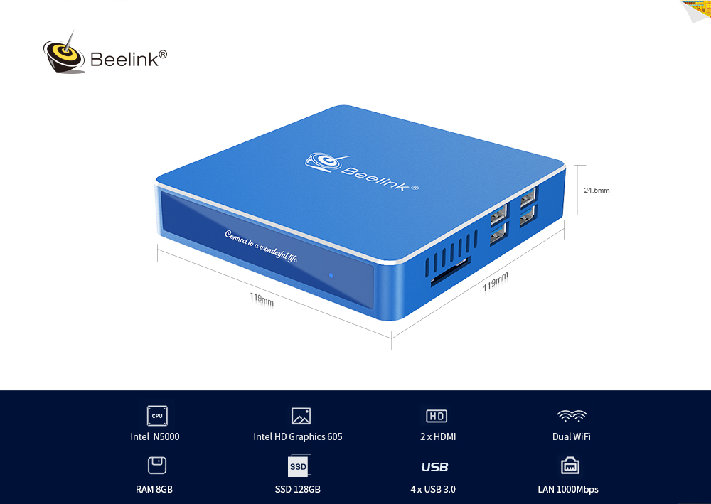 Intel Gemini Lake N5000 Intel HD Graphics 605 8GB RAM + 128GB SSD ROM 2.4G + 5.8G WiFi 1000Mbps 4 x USB3.0 BT4.0 2 HDMI / Expand M.2 2242 SSD- Cornflower Blue EU Plug
