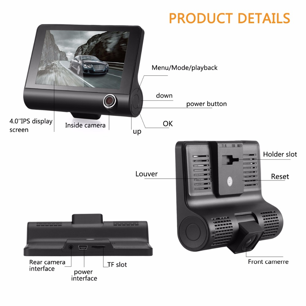 KATUXIN A32 Full HD 1080P Car DVR 170 Degrees Wide Angle 4 inch Dash Cam with Night Vision / G-sensor / Parking Monitor- Black