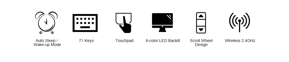 5f3428d0284 Rii X8 LED Backlit Mini Wireless 2.4GHz Keyboard with Touchpad Mouse Combo-  Black