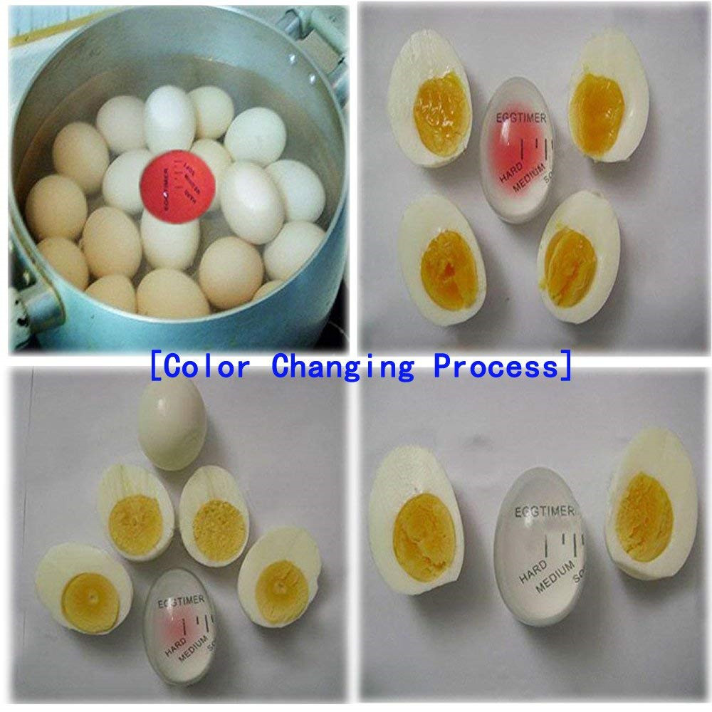 Kitchen Gadget Silicone Heat Sensitive Reusable Color Changing Boiled Egg Timer- Multi