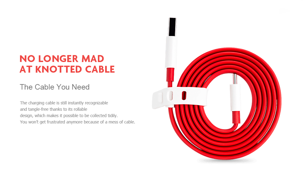 Original OnePlus Fast Charging Adapter Type-C Data Transmission Cable 100cm- White