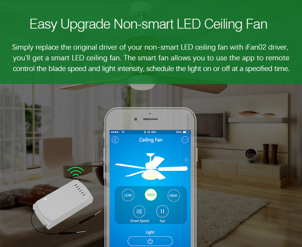 Sonoff Ifan02 Wifi Driver Switch Module Smart Led Ceiling Fan Crystal Change Rc Boat Groups Convert Non To