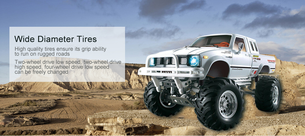 HG P407 1/10 2.4G 4WD Rally Rc Car for TOYATO Metal 4X4 Pickup Truck Rock Crawler RTR Toy- White