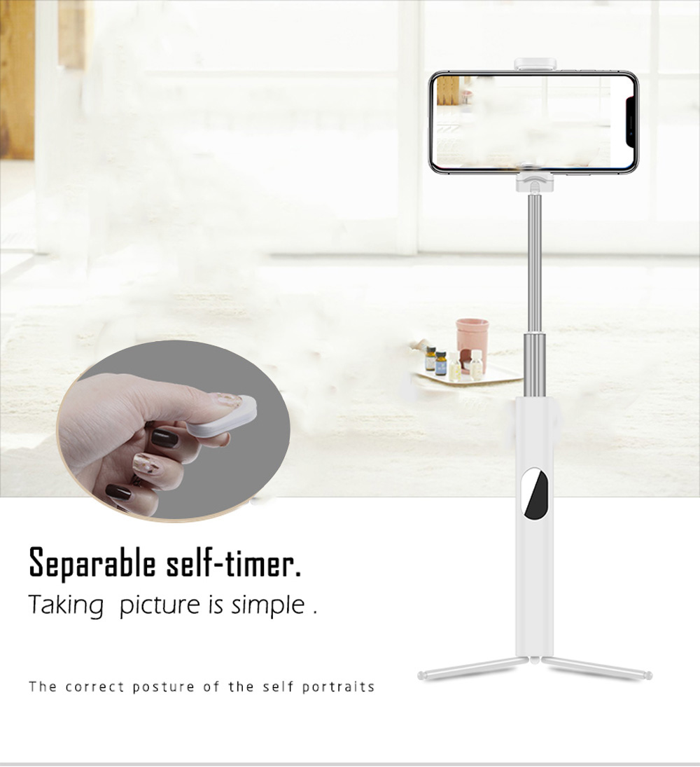 L02 Selfie Stick Tripod Monopiede Bluetooth4.0 portatile per iPhone per Android- White