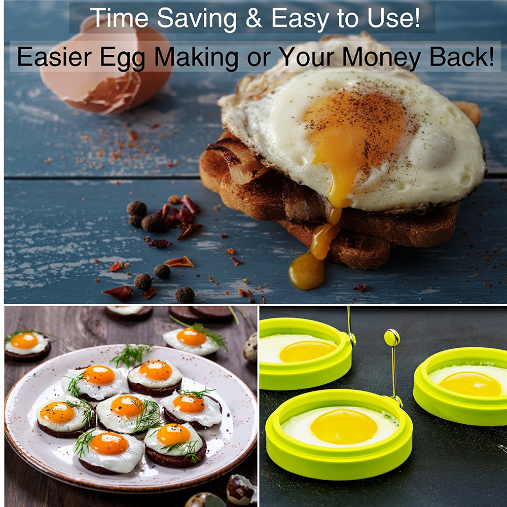 Nonstick Silicone Egg Rings Pancake Mold Round- Green