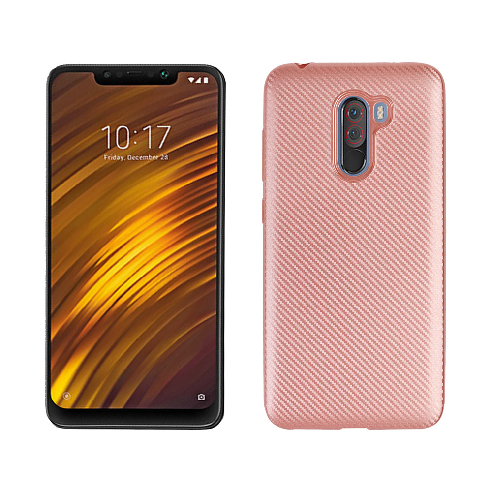 Custodia in TPU morbida in fibra di carbonio per Xiaomi Pocophone F1- Black