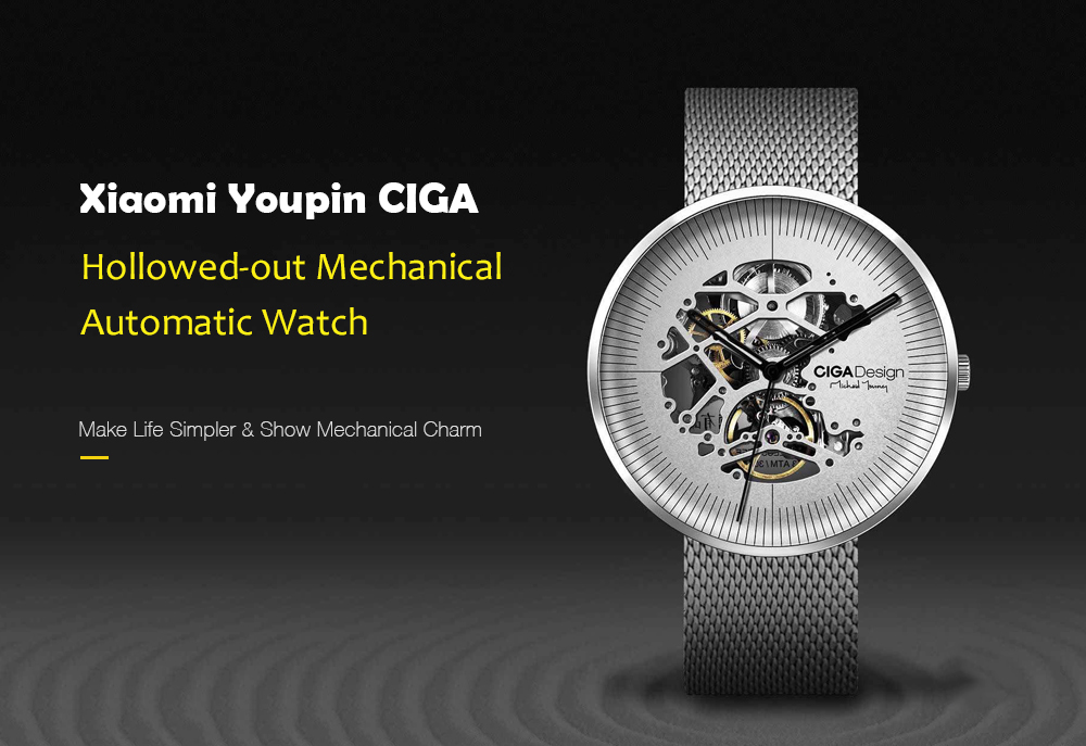 CIGA Fashion Hollowed-out Mechanical Wristwatches Luxury Automatic Watch- Black
