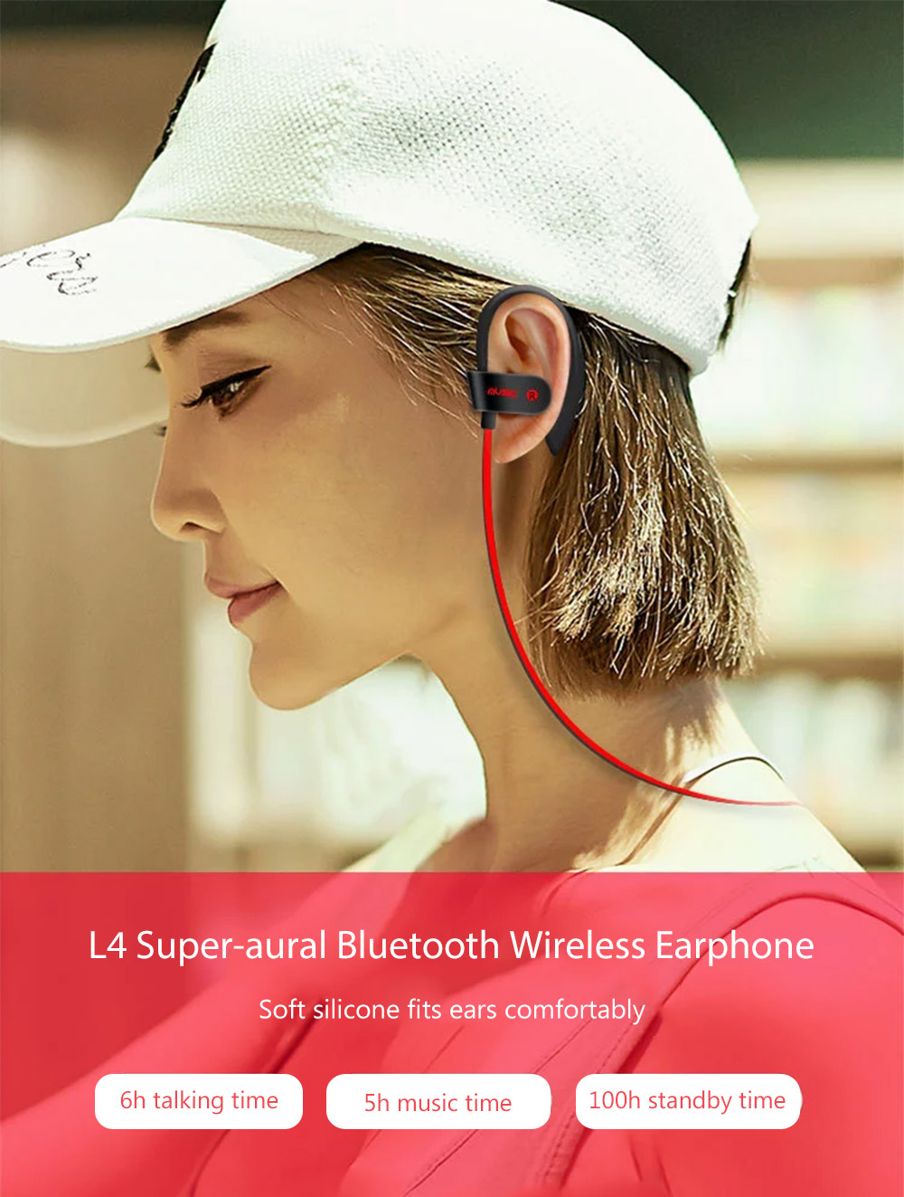 L4 Super-aural Bluetooth Earphone Wireless Earbuds for Sports with Mic- Green Yellow