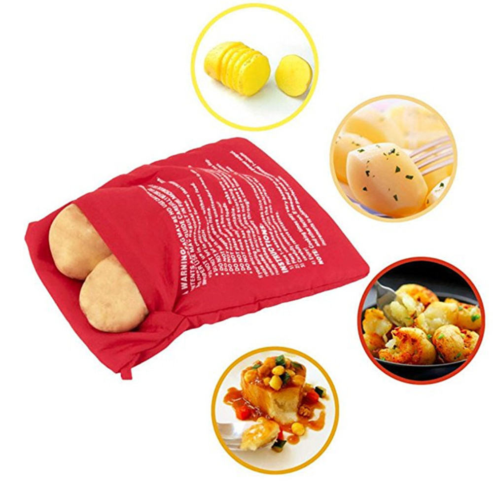 Red Washable Cooker Bag Baked Potato Microwave Cooking- Red