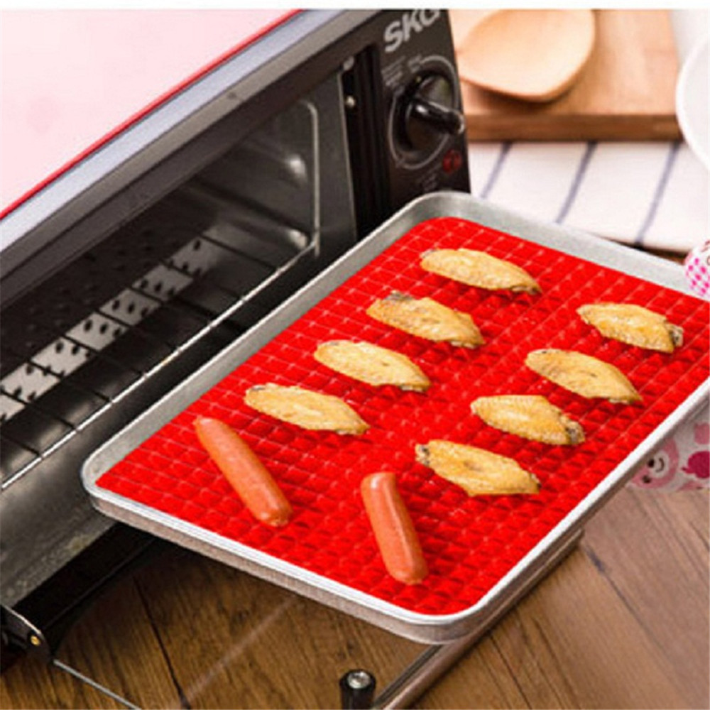 Microwave Creative Pyramid Silicone Baking Mat Nonstick Pan Pad Cooking- Red