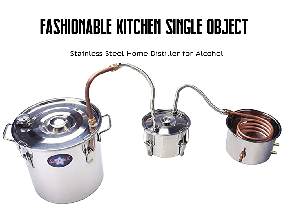 Stainless Steel Home Distiller for Alcohol- Silver 30L