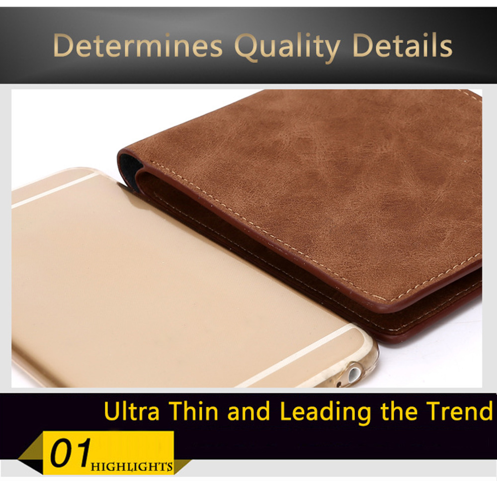 Fashion Leisure Business  Leather Bifold Wallet for Men- Coffee