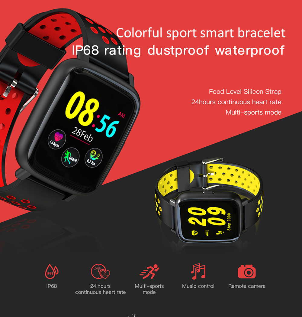 ColMi SN12 1.44 inch Sports Smart Bracelet Bluetooth 4.0 IP68 Waterproof Call / Message Reminder Heart Rate Monitor Blood Pressure Functions- Red