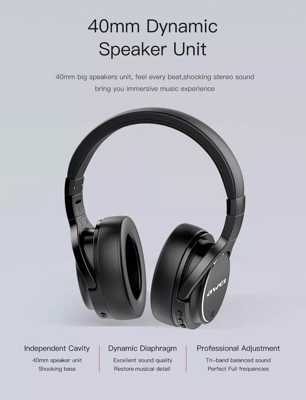 Awei A950bl Bluetooth Headset Wireless Headphone With Mic 5346 Musik Stereo Beats S450 Anc Noise Reduction Headband Black
