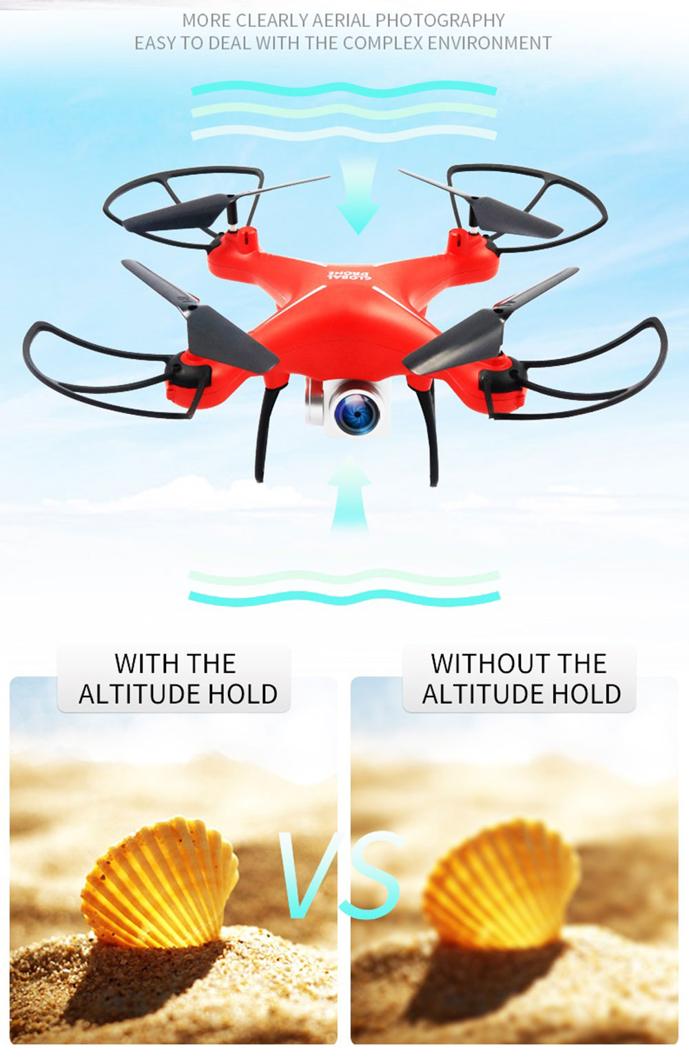 2.4G Mini RC Quadcopter Drone with Camera Altitude Hold / Headless Head / One Key Return- Black