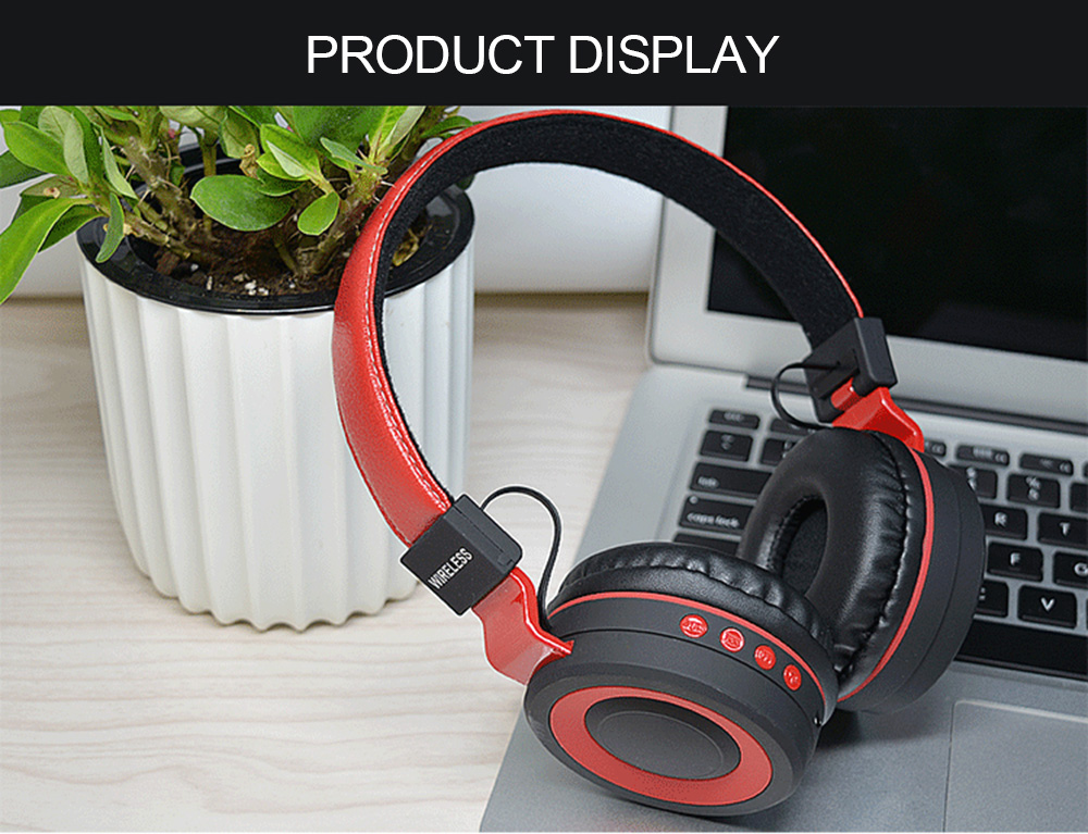 HM - 01 Music Bluetooth Headset Wireless Over-ear Headphone with Microphone- Red