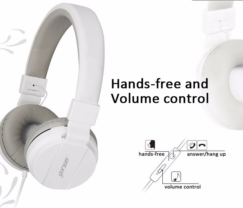 gorsun GS Universal Foldable Wired Headphone Over-ear Headset with Mic Super Bass - White