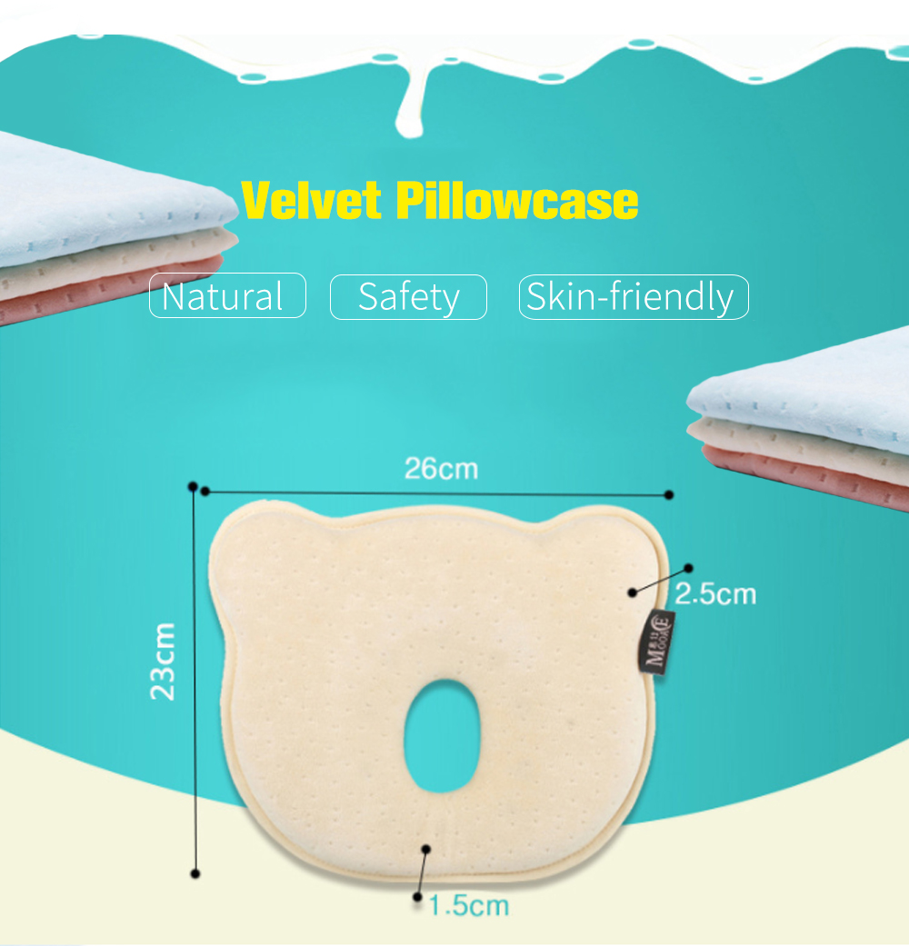 Baby Anti-Head Correction Memory Foam Pillow for Flat Head Infant and Toddler- Antique White