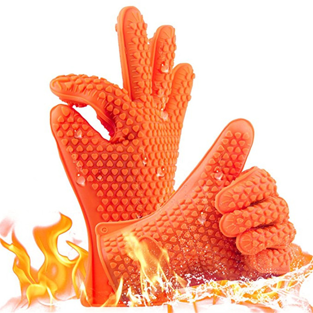 Hot Selling Kitchen Heat Resistant Silicone Resistant Glove Oven Pot Tool- Bright Orange