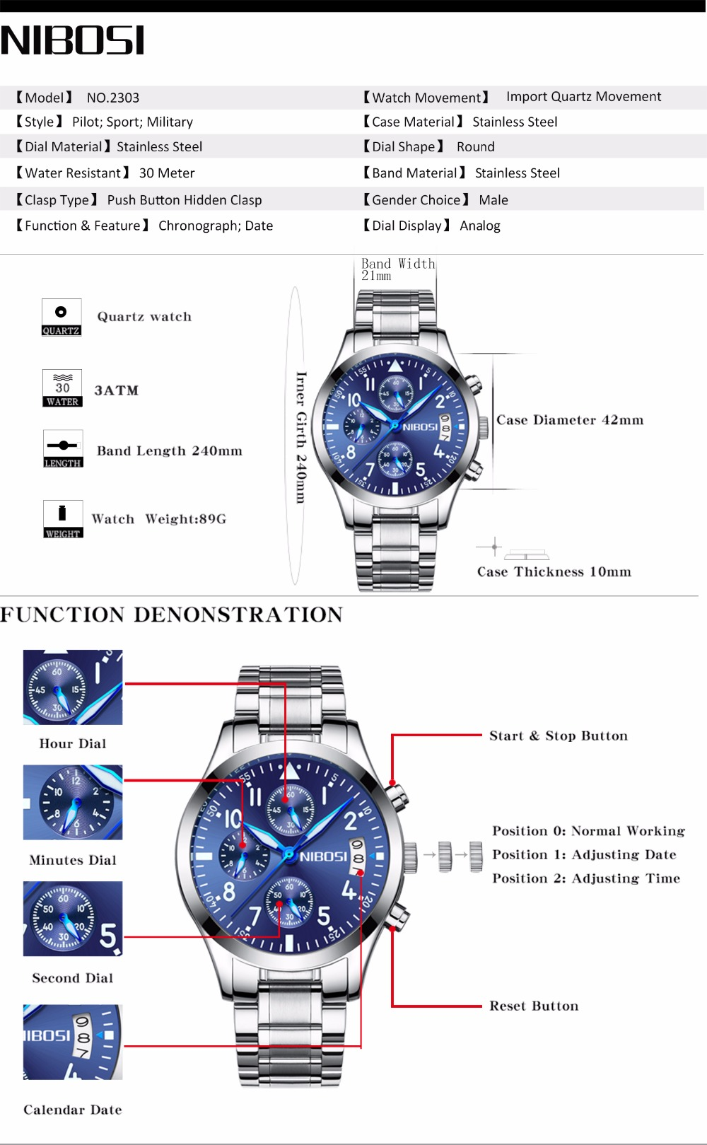 NIBOSI 2303 Men Sport Male Chronograph Casual Man Luxury Wrist Watches-  Multi-A