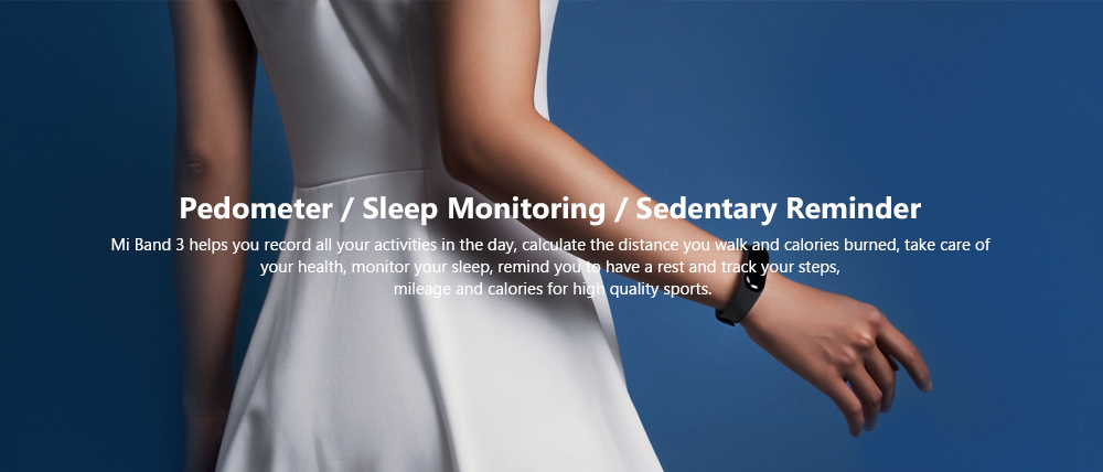 Xiaomi Mi Band 3 Smart Bracelet Bluetooth 4.2 Heart Rate Monitor Pedometer with NFC Function- Black