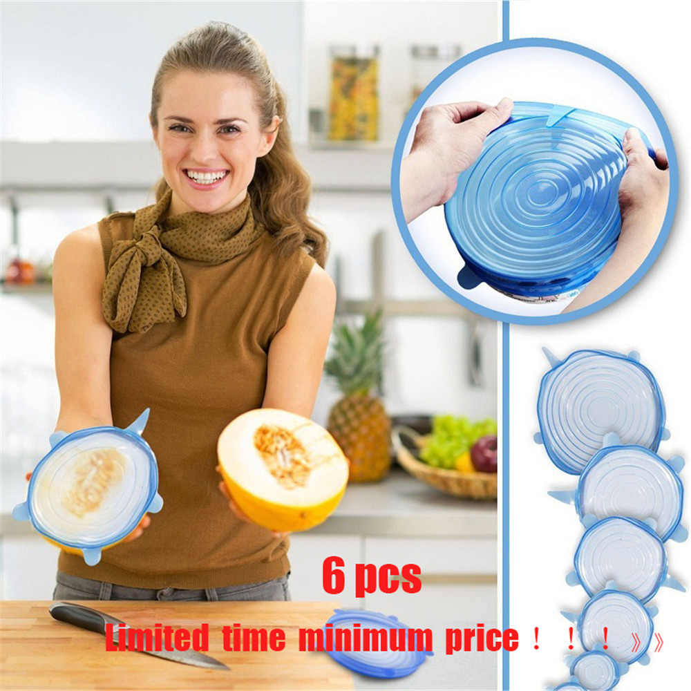 6PCS Food Wraps Reusable Silicone Fresh Keeping Sealed Covers- White