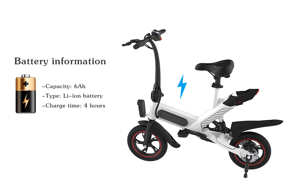 GUANGYA Y1 Outdoor 6Ah Battery Smart Folding Electric Bike Moped Bicycle- White