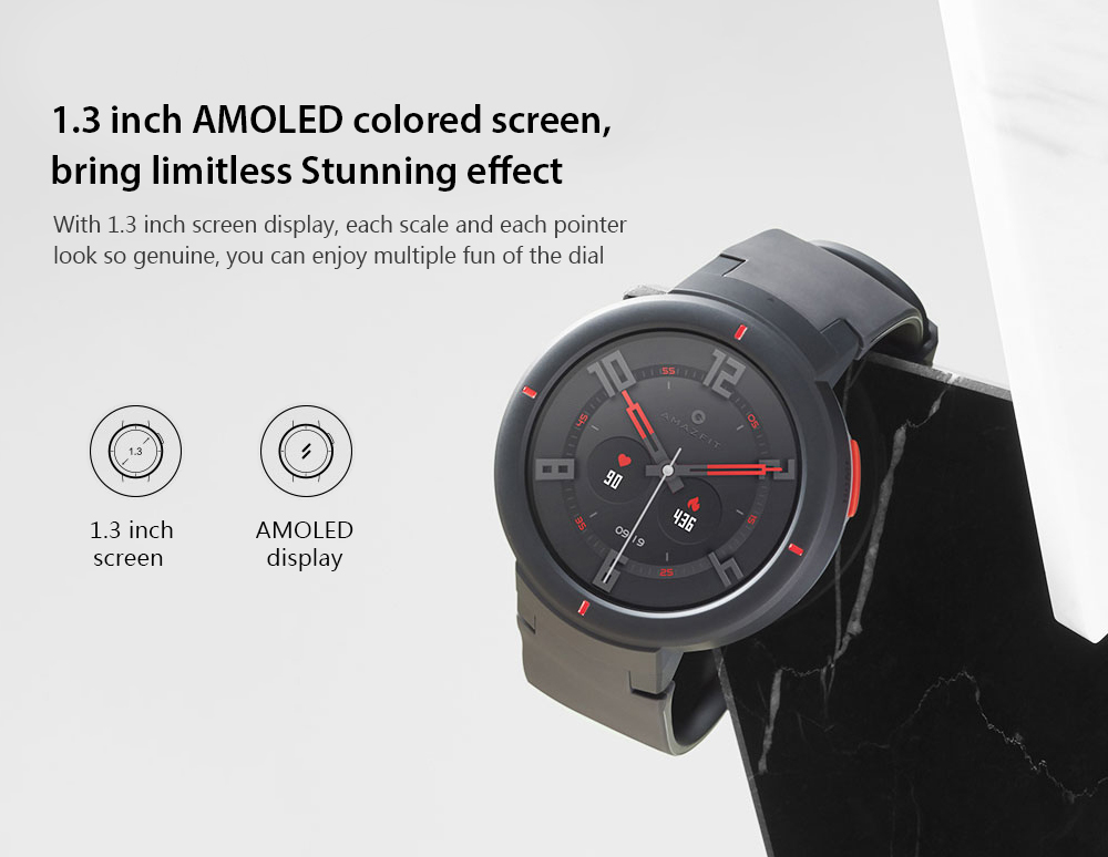 AMAZFIT Verge 1.3 inch Smart Watch Bluetooth 4.0 Call / Message Reminder Heart Rate Monitor Functions Chinese Version- Carbon Gray