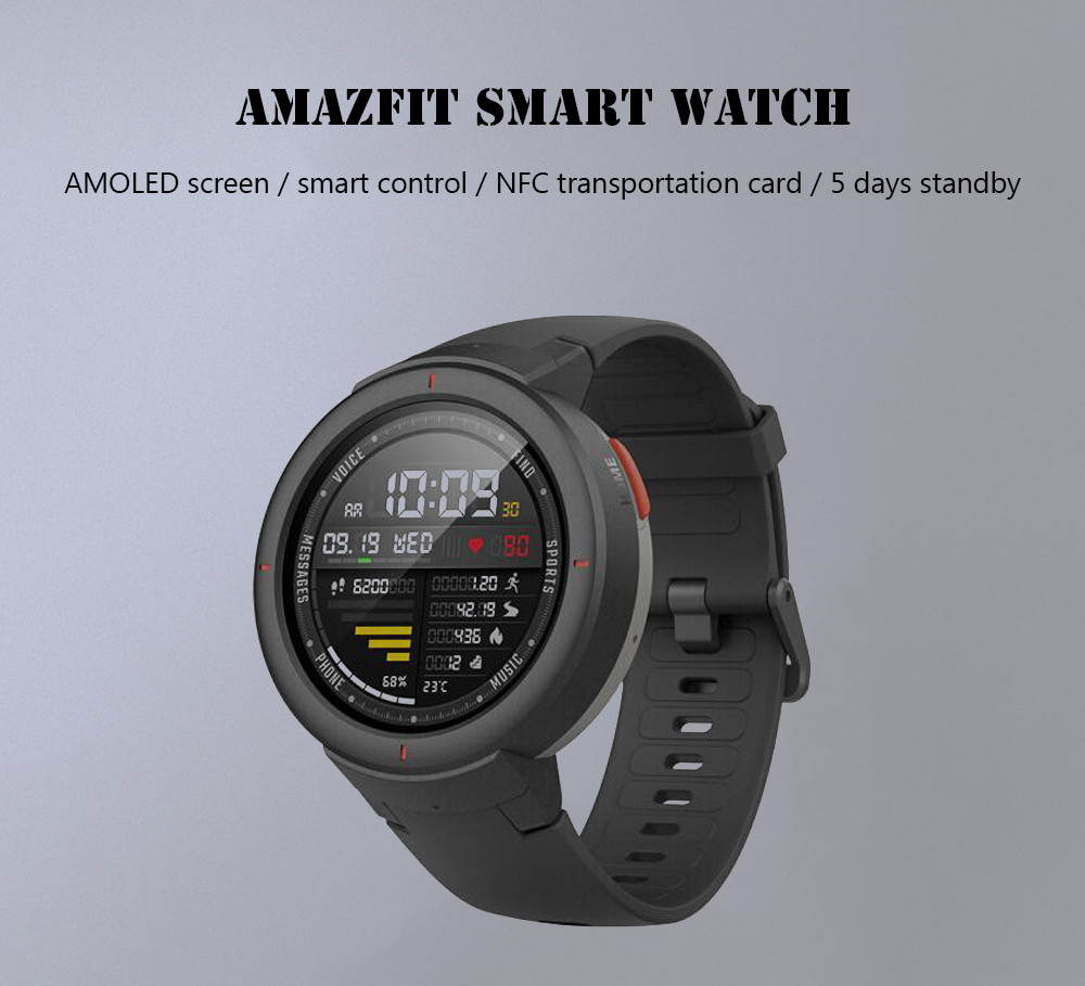 Xiaomi Amazfit Verge 1.3 inch Smart Watch Bluetooth 4.0 Call / Message Reminder Heart Rate Monitor Functions Chinese Version- Carbon Gray