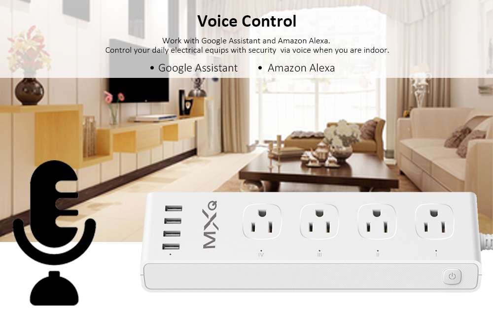MXQ SS05 Smart WiFi Voice Control  4-outlet Power Strip with 4 USB Ports- White