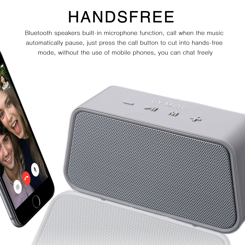 LYMOC H811 Portable Wireless Speakers Stereo Mini Bluetooth Speaker Subwoofer MP3 Music TF HD Mic Hands-free Soundbox- Black