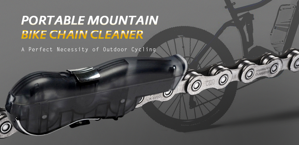 Outdoor Portable Mountain Bike Chain Cleaner Bicycle Repair Tool- Black