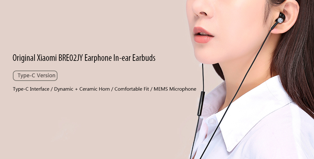 Original Xiaomi BRE02JY Noise Canceling USB Type-C Dynamic Driver Earphone In-ear Earbuds with Mic- White
