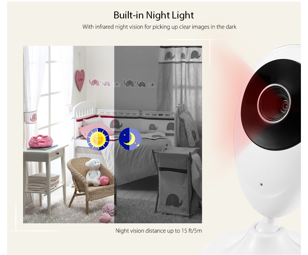 SP880 2.4G Wireless Baby Video Monitor with Night Vision Two-way Talk 2.4 inch L